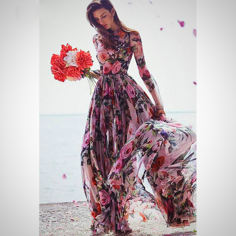 ELEGANT FLOWERS PRINTED LONG DRESS