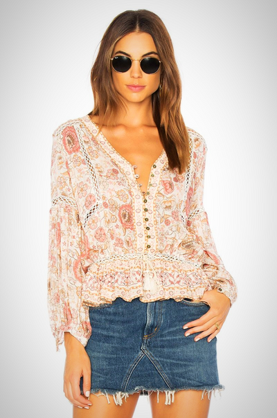 V Neck puff long Sleeve blouse
