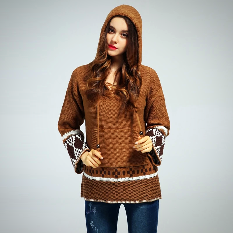 LOOSE SLEEVE BOHEMIAN HOODED SWEATER