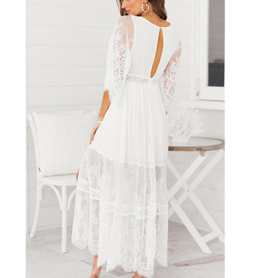 Half Sleeve White Maxi Dress