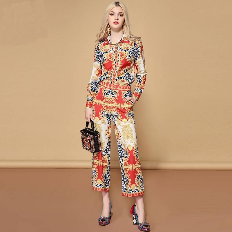 Blouse & Pants Set Suit