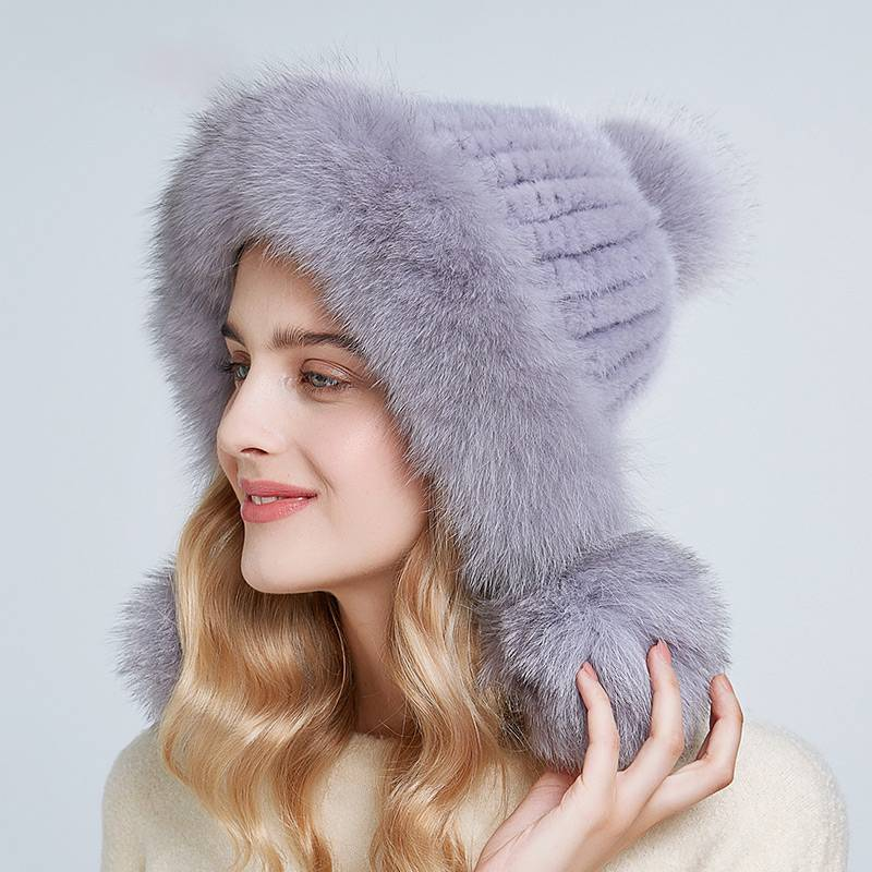 REAL MINK POMPOM EAR PROTECT CAP