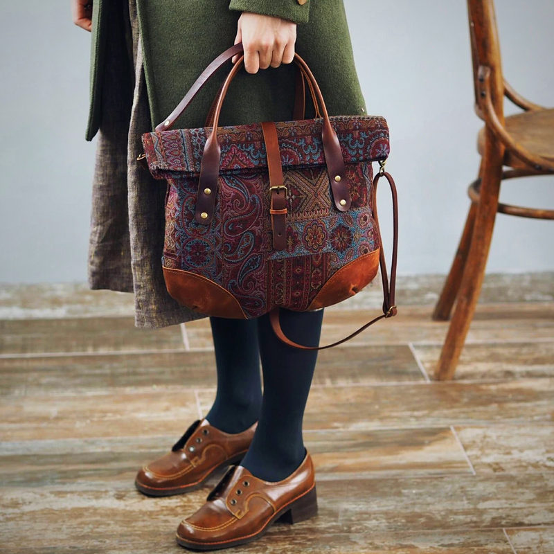 Leather Tapestry Tote Handbag