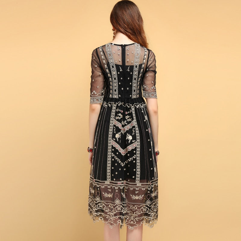 Floral Embroidery Mesh Vintage Dress