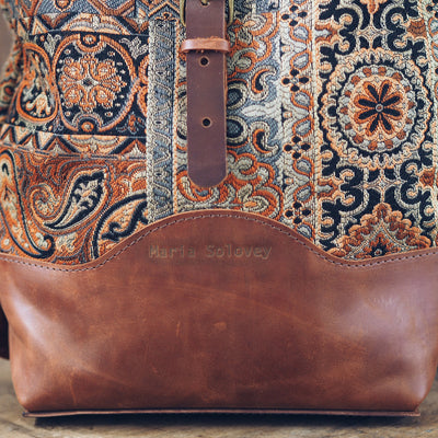 Tapestry Boho Leather Backpack