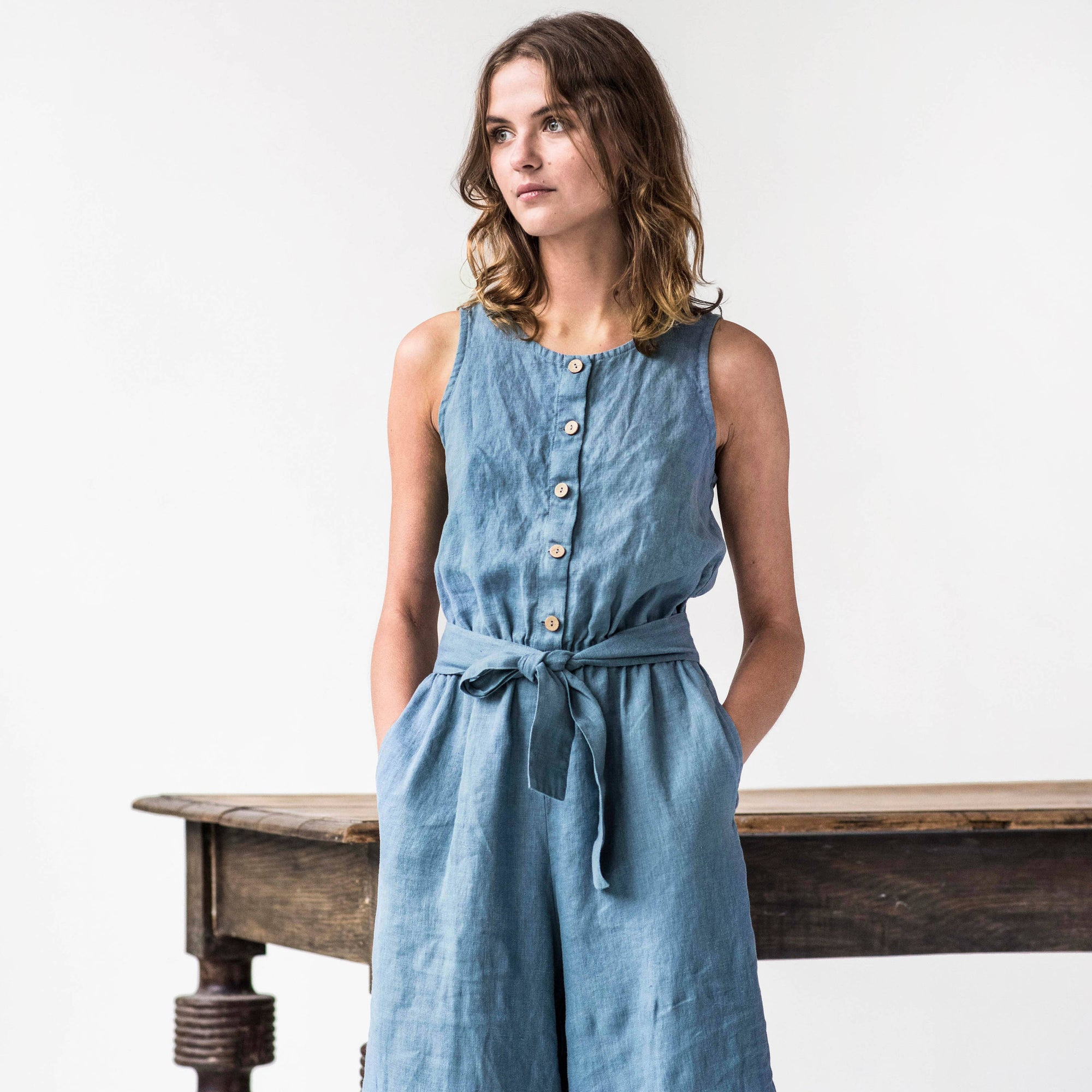 FRONT BUTTON OVERALL LINEN JUMPSUIT