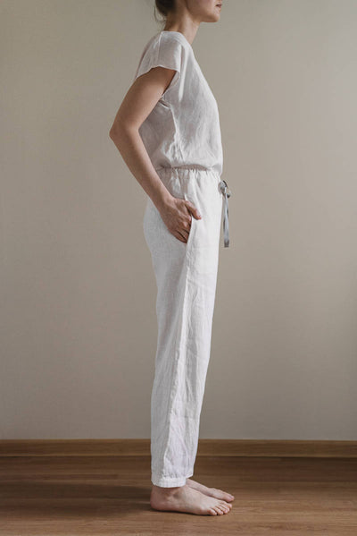 SLEEPWEAR LINEN TOP AND PANT SET