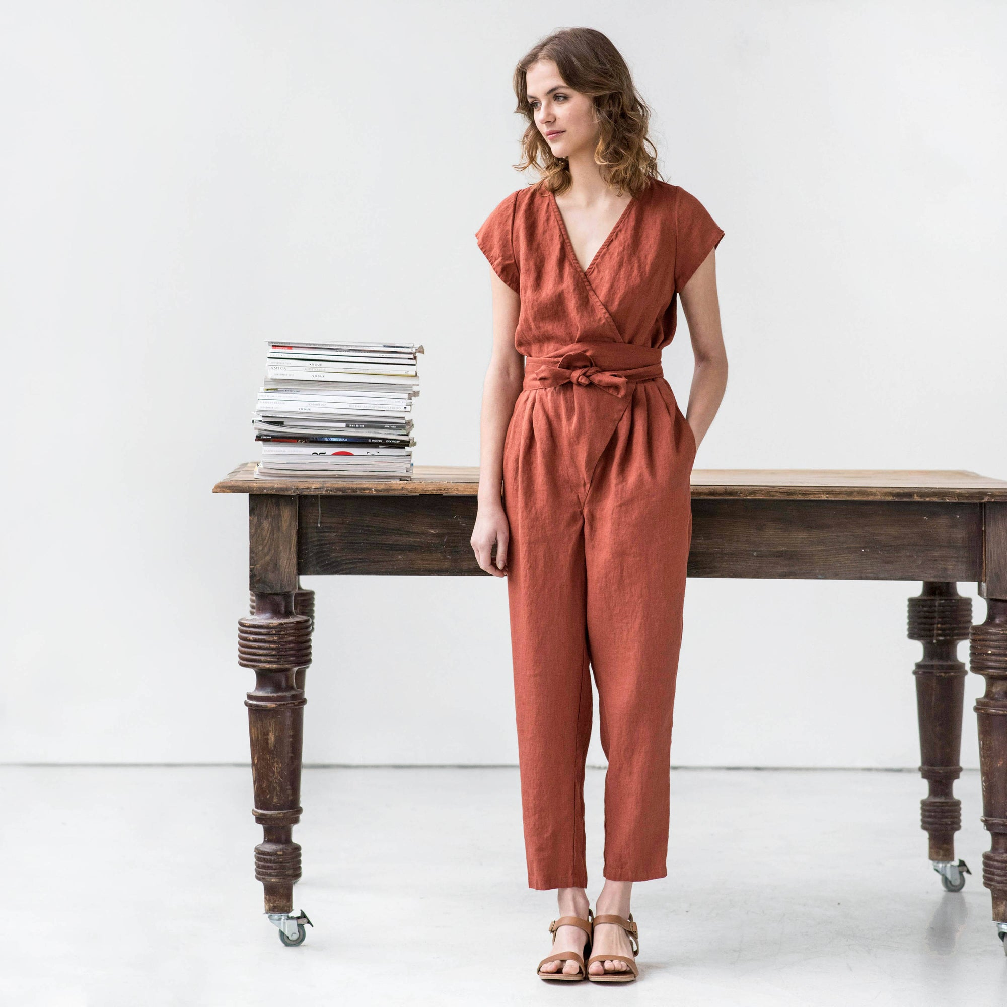 WRAP LONG LINEN OVERALL JUMPSUIT