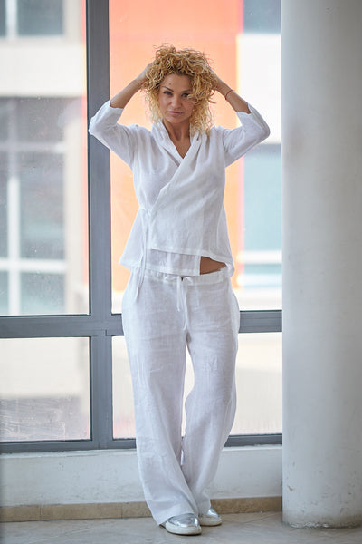 PLUS SIZE LINEN TOP AND PANT SET
