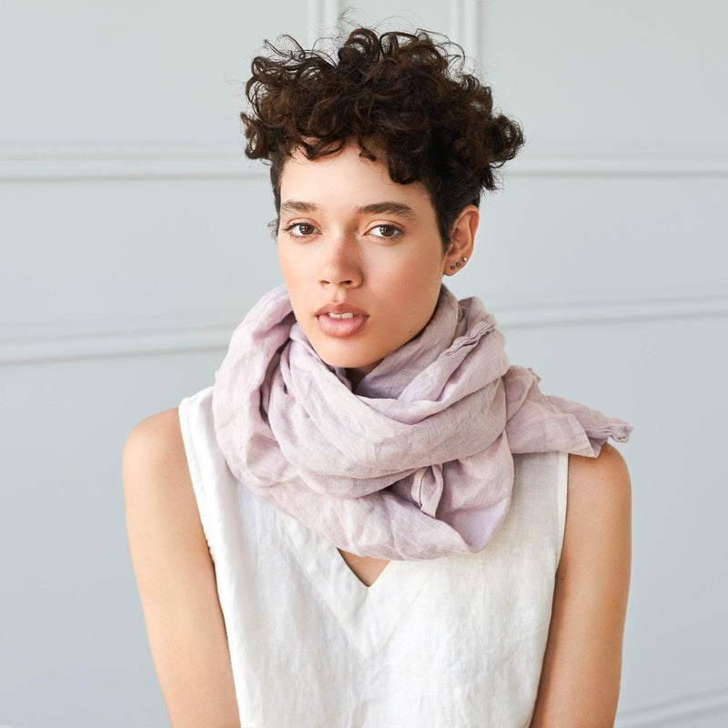 WASHED SOFTENED LINEN SCARF