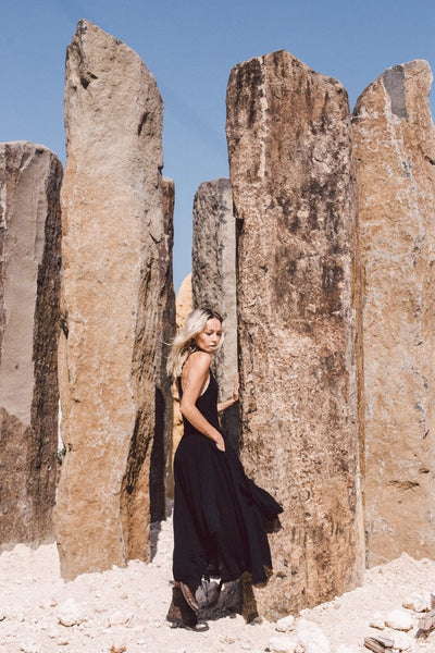 Black Cotton Boho Dress