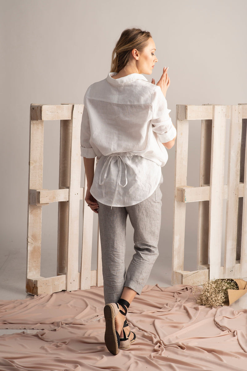 PLUS SIZE CASUAL OVERSIZE LINEN TOP