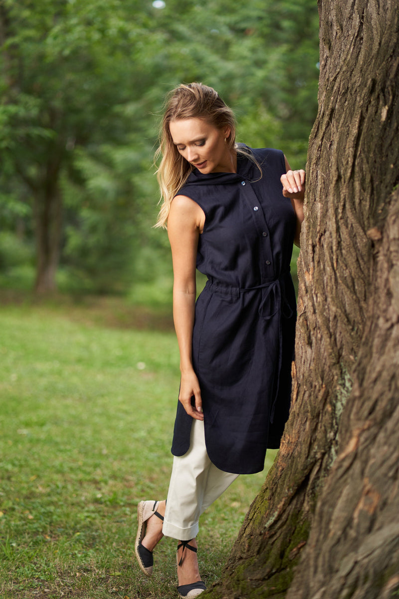 PLUS SIZE LINEN HOODIE DRESS