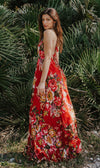 Red Floral Maxi Summer Dress