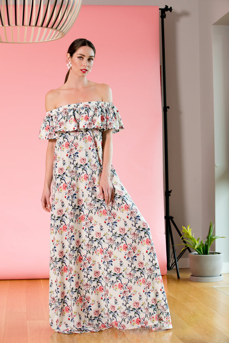 PLUS SIZE FLORAL BOHEMIAM MAXI DRESS