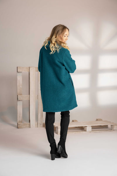 PLUS SIZE TEAL OVERSIZE WOOL COAT