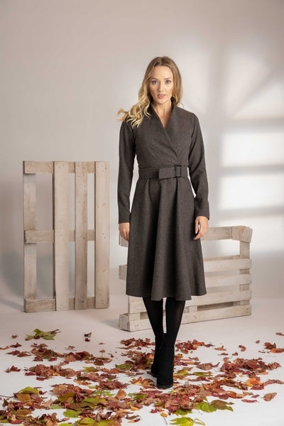 PLUS SIZE LONG SLEEVE WOOL DRESS