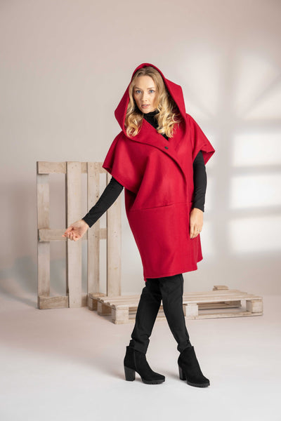 PLUS SIZE SHORT HOODED WOOLEN COAT