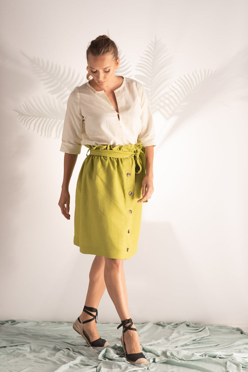 PLUS SIZE LINEN GREEN SKIRT
