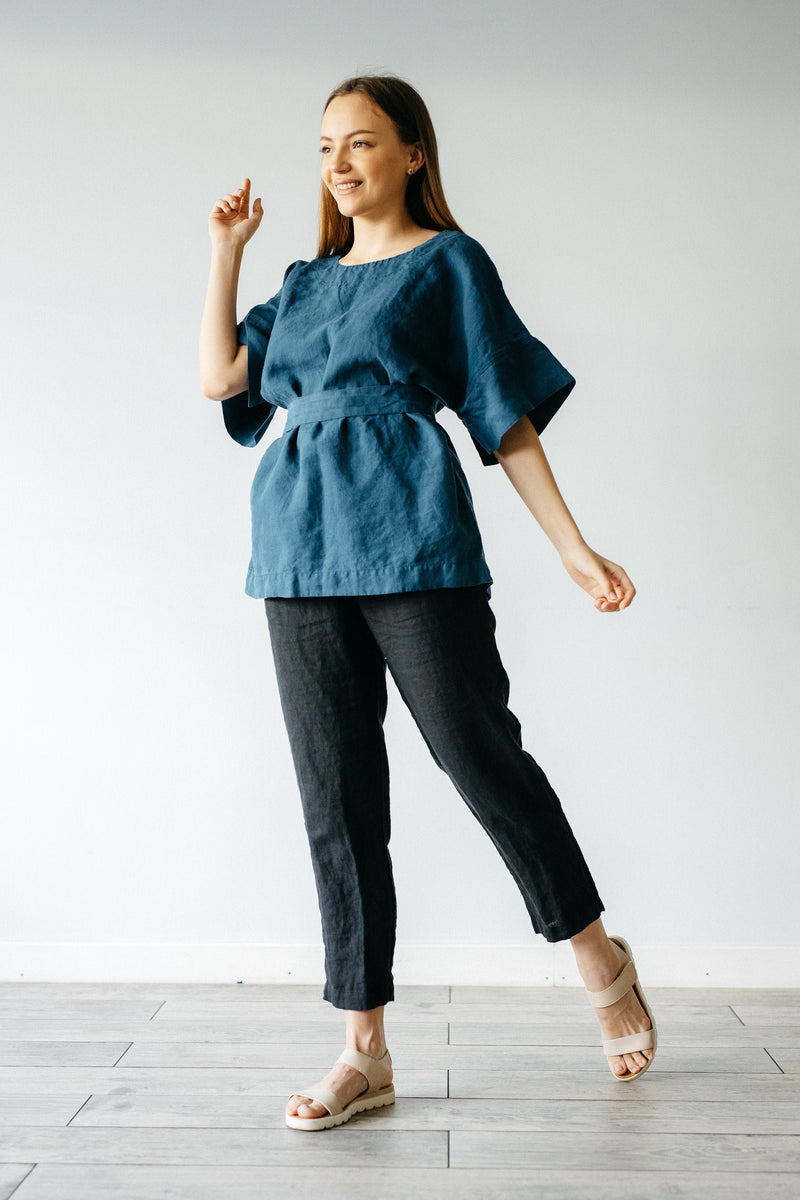 CASUAL V NECK WITH BELT LINEN TOP