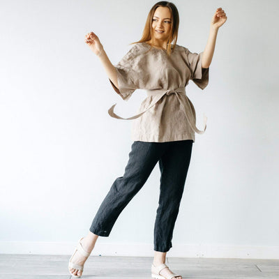 Half Sleeve Loose Linen Shirt