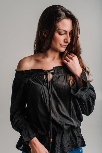 Black Long Sleeve Embroidered top