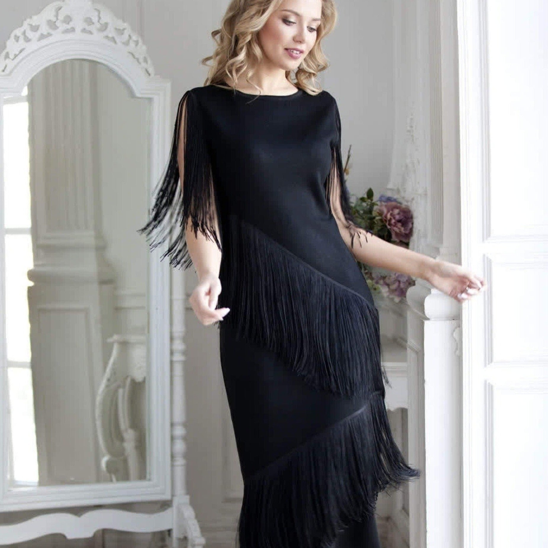 Black evening maxi dress