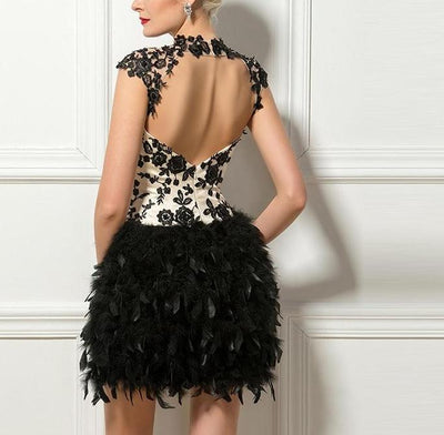 Casual Mini Feather Cocktail Patterned Party Dress