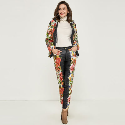 Printed Hooded Warm Basic Parka Suit