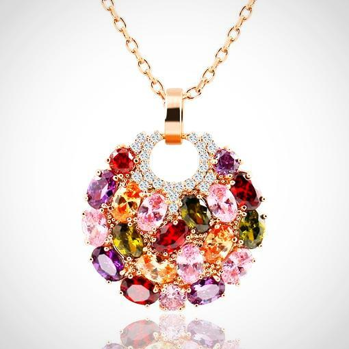 Colorful Trendy Round Crystal Pendant Necklace