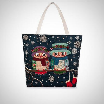 Cute Owl Printed Large Capacity Tote Canvas Bag