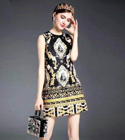 Ladies Luxury Vintage Print Party Dress