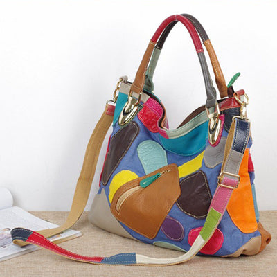 Genuine Leather Patchwork Tote Bag with Pocket