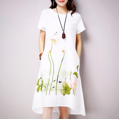 Ladies Plus Size Short Sleeve Print Dress