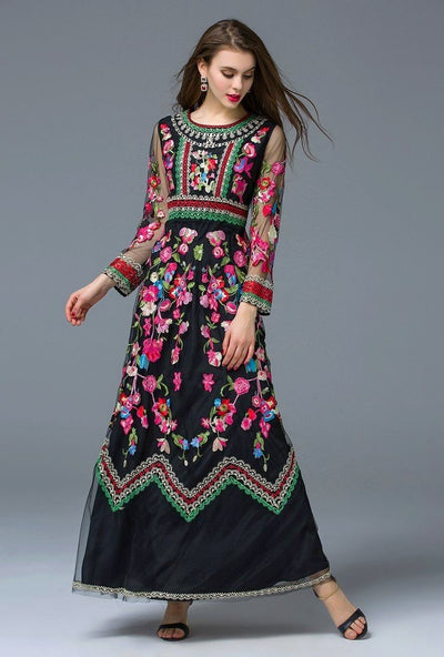 Gorgeous Long Sleeve Floral Embroidered Dress