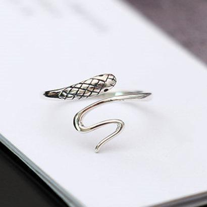 Vintage Sterling Silver Small Snake Open Ring