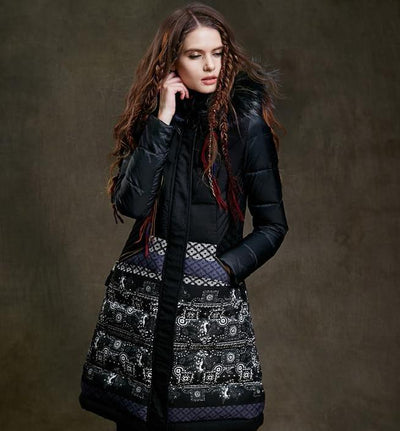 Ladies Long Parka Print  Overcoat