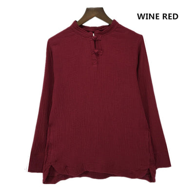 Ladies Plus Size Long Sleeve Cotton Linen Top