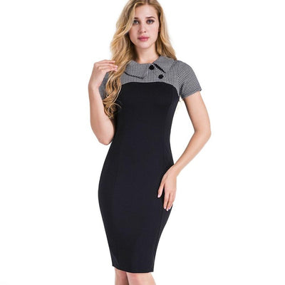 Turn-down Collar Pencil Dress
