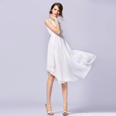 Casual Bohemian Sumer White Silk Dress