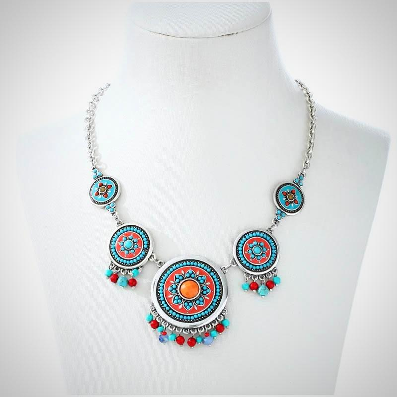Casual Hand Made Ethnic Multicolor Chokers Necklace