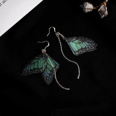 Ladies Handmade Butterfly Metal Chain Long Earring