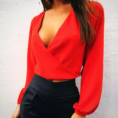 Ladies Backless Bow Short Chiffon Blouse