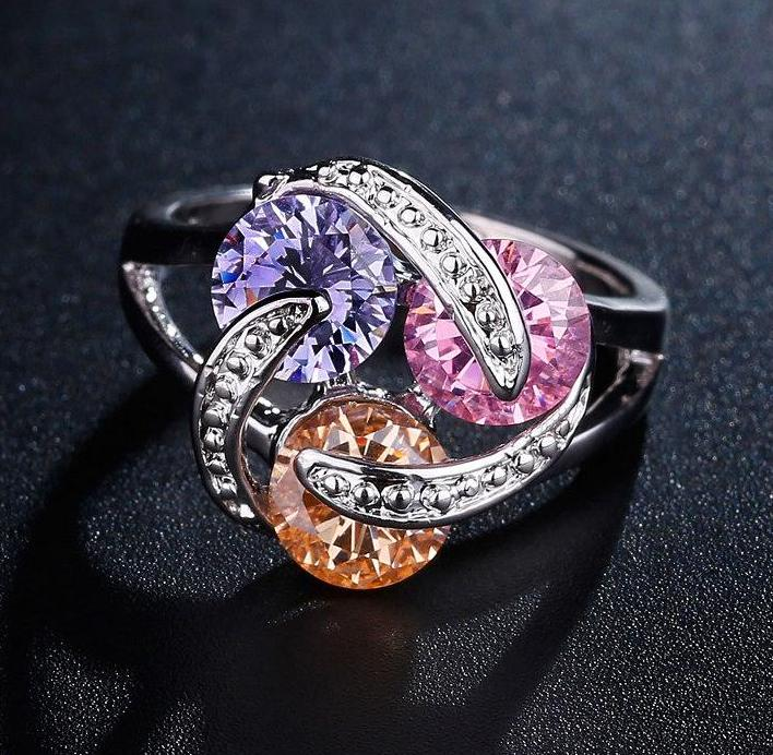 Sparkling Pink Yellow Purple ring
