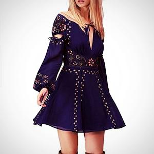 Ladies Floral Embroidery Mini Party Dress