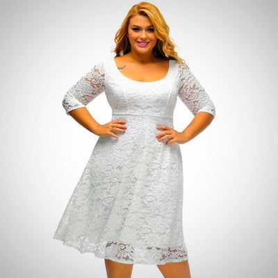 Ladies Plus Size Lace Up Floral Party Dress