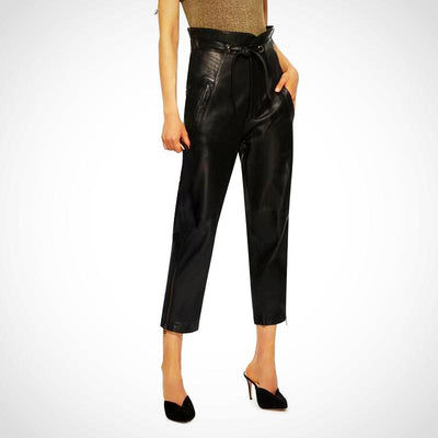 Ladies Leather Pencil Ruffle Lace Up High Waist Pant