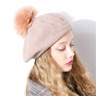 Winter wool beret hat with Ostrich fur pom pom