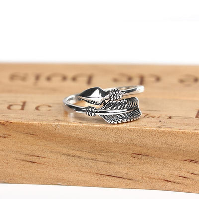 Sterling Silver Feathers Arrow Opening Ring