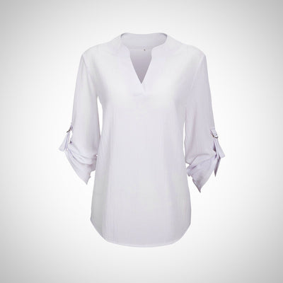 V-Neck Chiffon Blouse 3/4 Sleeve Shirt Plus Size Top